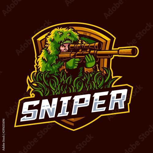 Fotomural  Vector illustration of sniper mascot