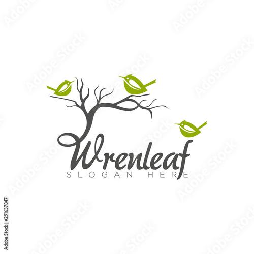 logo wrenleaf, unique wren and leaf for enviromental vektor Fototapeta