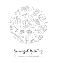 Sewing And Knitting Banner Tem...
