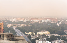 Aerial View Of High Air Pollution In Delhi, India.