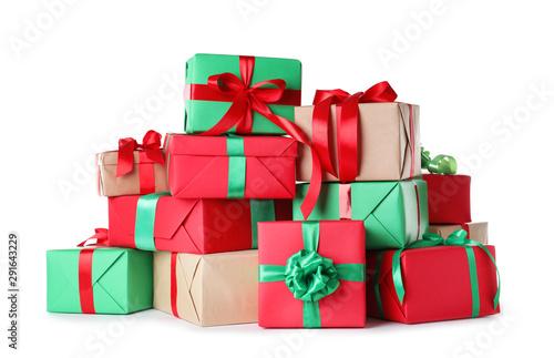 Obraz Different Christmas gift boxes on white background - fototapety do salonu
