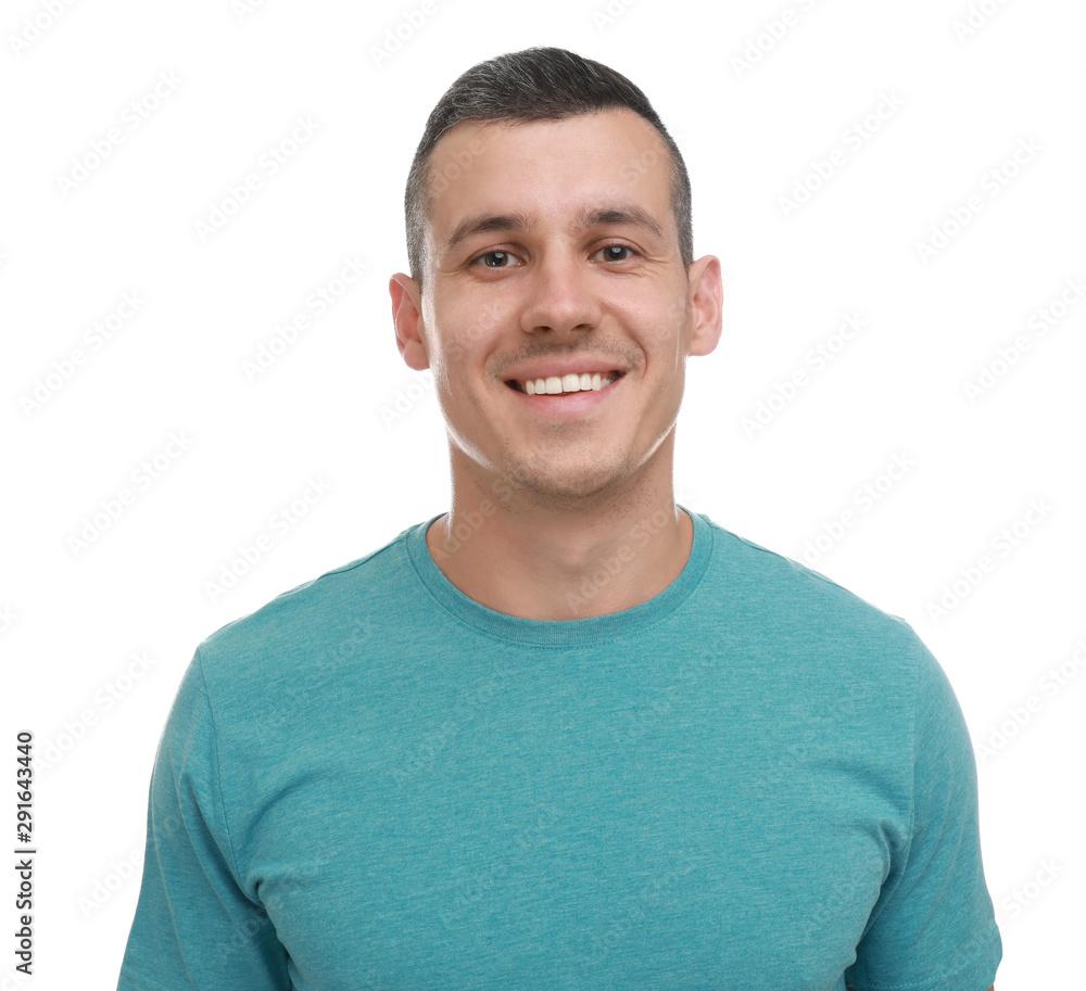 Fototapeta Portrait of handsome man on white background