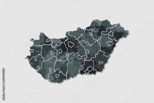 Photo Hungary watercolor map vector illustration of black color with border lines of d