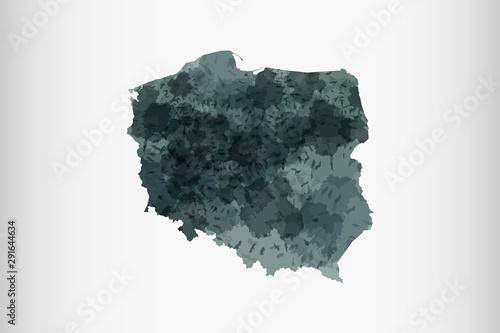 Fotomural  Poland watercolor map vector illustration of black color on light background usi