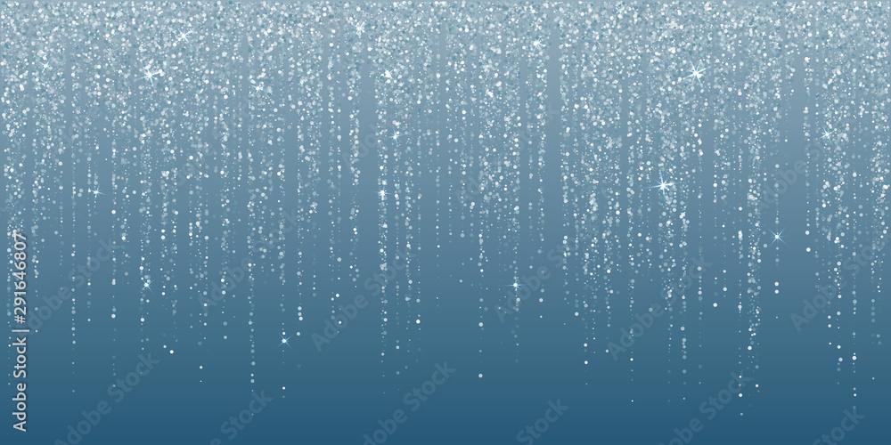 Fototapeta Falling in lines silver glitter confetti garlands dots rain.