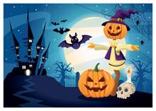 Halloween Dark Scene With Scarecrow Pumpkin