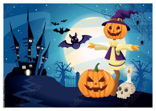 Photo halloween dark scene with scarecrow pumpkin