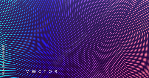 Abstract background. Technology style. 3d network design with particles. Vector illustration. Cover design template. Can be used for advertising, marketing, presentation. - 291649821
