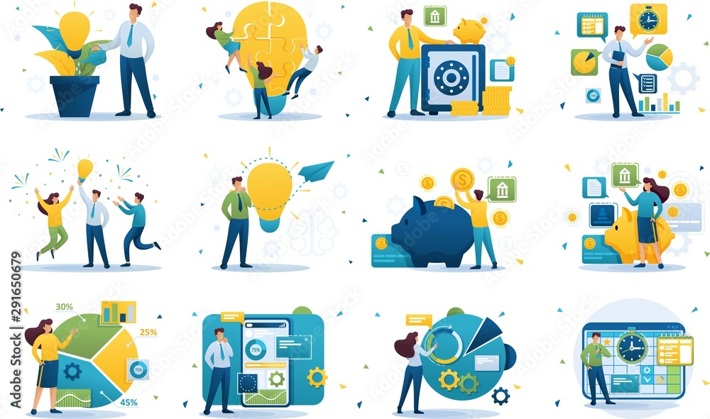 Fototapeta Set of concepts on the subject of business, success, investment, Deposit, business ideas, business planning. Flat 2D character