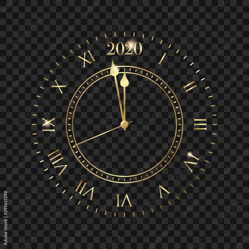 Fototapety, obrazy: New Year 2020 clock. Golden clock with 2020 countdown midnight