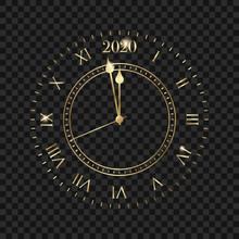 New Year 2020 Clock. Golden Cl...