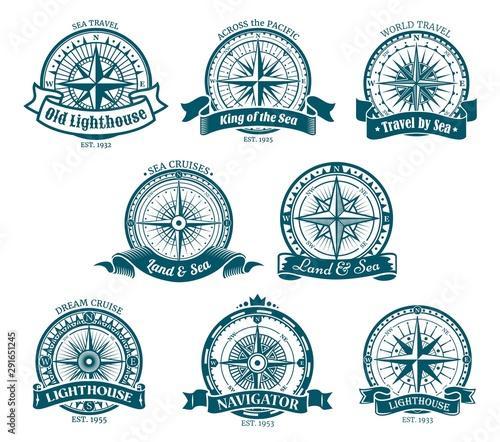 In de dag Schip Compass navigation and orientation icons