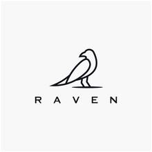 Black Outline Bird Logo Design. Simple Black Raven Crow Logo. Vector Illustration