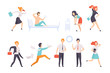People running to work, businesspeople characters are late for work vector Illustration on a white background