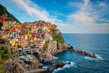 Manarola Village On Sunset, Ci...