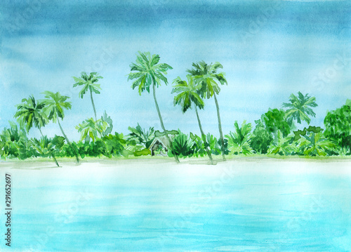 Garden Poster Light blue Watercolor landscape of tropical paradise with sea, beach, palms
