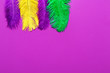 canvas print picture - Colorful feathers on color background