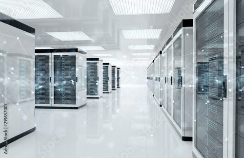 Fotografia Connection network in servers data center room storage systems 3D rendering