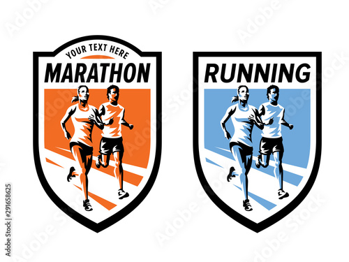 Fotografie, Obraz Marathon running sports and fitness logo set