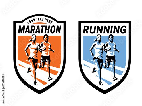 Fotografia Marathon running sports and fitness logo set