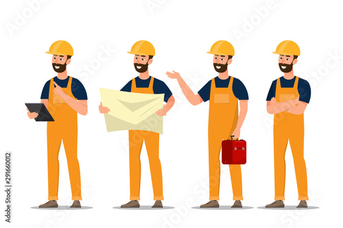Fototapeta architect, foreman, engineering construction worker in different characte obraz na płótnie