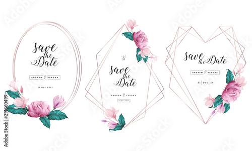 Fotografía  Wedding invitation card template with rose gold geometric frame and floral watercolor decoration