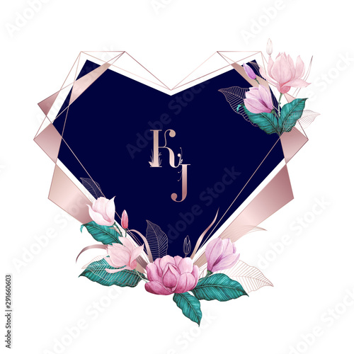 Watercolor floral with rose gold heart geometric frame, multi purpose background Wallpaper Mural
