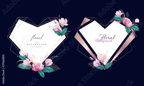 Photo  Watercolor floral with rose gold heart geometric frame, multi purpose background