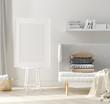 Leinwanddruck Bild - Mock up poster frame in home interior, Scandinavian style, 3d render