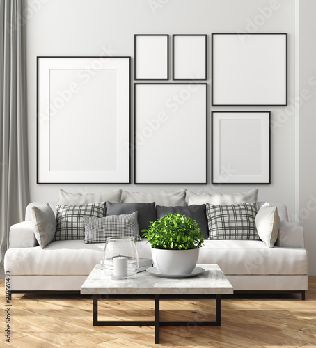 Fotografie, Obraz  Mock up poster frame in home interior, Scandinavian style, 3d render
