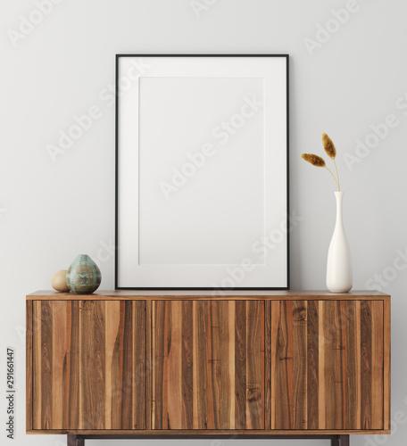 Obraz Mock up poster frame on wooden cabinet in home interior, 3d render - fototapety do salonu