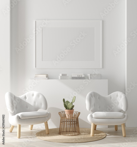 Valokuvatapetti Mock up poster, mock up wall in home interior, Scandinavian style, 3d render