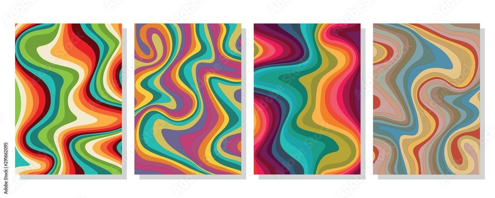 Fototapeta Liquid marble textured backgrounds. Wavy psychedelic backdrops. Abstract painting for wed design or print. Good for cards, covers and business presentations. Vector illustration.