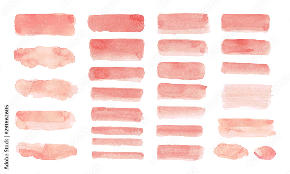 Fototapeta Set of Peach watercolor isolated on white background.