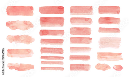 Fotografiet  Set of Peach watercolor isolated on white background.