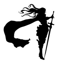 Silhouette Of A Female Knight With Long Hair And Cloak, Standing Proudly In The Wind Leaning On A Long Sword. 2D Illustration.