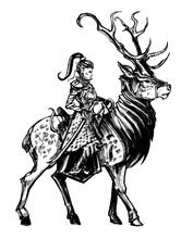 Elven Knight Woman Riding A Horned Deer . 2D Illustration .
