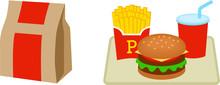 ハンバーガーショップのテイクアウトとイートイン