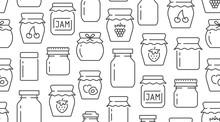 Jam Seamless Pattern With Vector Thin Line Icons. Glass Jars With Honey, Jelly And Other Canned Organic Food. Homemade Sweet Preserves Background