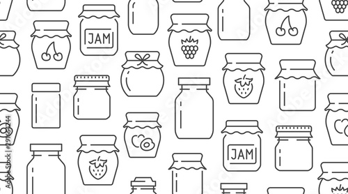 Fotografija Jam seamless pattern with vector thin line icons