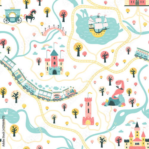 Fototapeta  Seamless Pattern cards of the fairytale kingdom with a ship at sea, rivers, train and railroad, castles, towers, dragon cave, princess carriage
