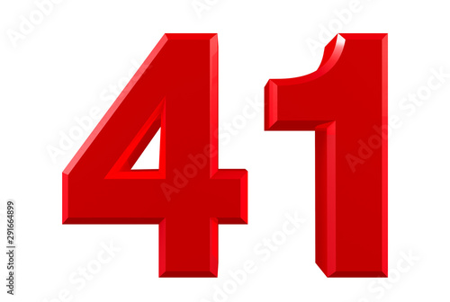 Tela  Red numbers 41 on white background illustration 3D rendering