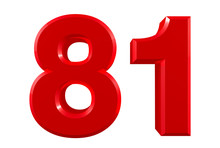 Red Numbers 81 On White Background Illustration 3D Rendering