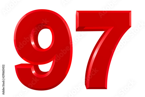 Red numbers 97 on white background illustration 3D rendering Canvas-taulu