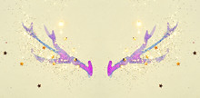 Golden Glitter And Glittering Stars On Abstract Watercolor Horns In Vintage Nostalgic Colors.
