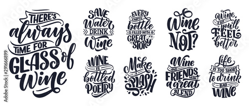 Set of wine lettering compositions in modern style Wallpaper Mural