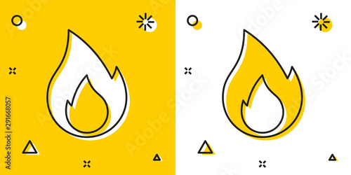 Leinwand Poster Black Fire flame icon isolated on yellow and white background