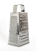 Shiny Metal New Grater Isolated On White Background, Close-up Cheese And Food Grater