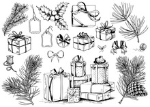 Gift Box Sketch. Christmas Collection Of Ribbon Bows, Present Boxes And Evergreen Branches. Hand Drawn Vector Illustration.