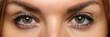 Leinwandbild Motiv Detailed view of pretty amazing female eyes on happy and excited face